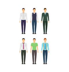 cartoon business man set staff dress style vector image