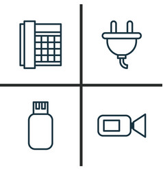 Gadget icons set collection of work phone video vector