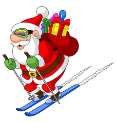 skiing santa vector image vector image