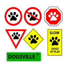 7 Dog paw signs vector image vector image