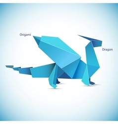 a blue origami dragon figure vector image