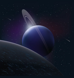bright planet in space around the comet and stars vector image