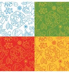 Christmas seamless pattern set vector image vector image