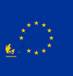 Eu flag with denmark country european union vector