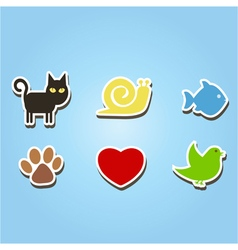 color icons with pets vector image vector image
