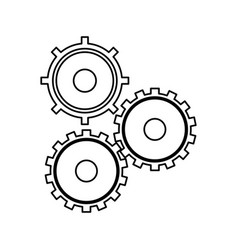 gears cogs teamwork outline vector image vector image
