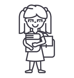 girl in school with book and backpack line vector image
