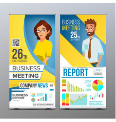 roll up display vertical poster template vector image