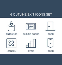 6 exit icons vector