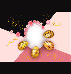 abstract easter background with decorated golden vector image