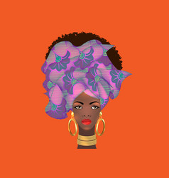 Afro hairstyle beautiful african woman in turban vector