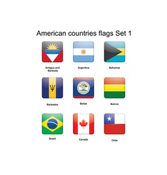American countries flags Set 1 vector