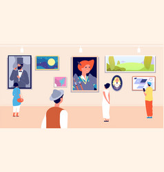 Art gallery artistic museum painting exhibition vector