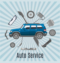 Auto service and car spares top view vector