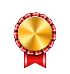 Award ribbon gold icon golden red medal design vector
