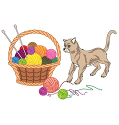 Basket with balls of yarn and cat vector
