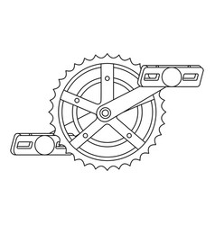 bicycle sprocket with pedal vector image