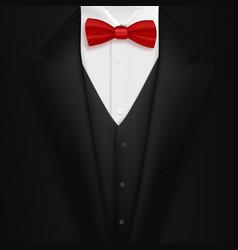 Black suit with bowtie realistic mens tuxedo suit vector