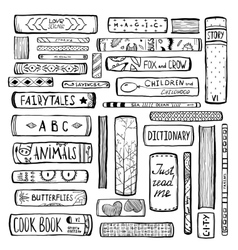 Books Collection Monochrome Inky Outline vector