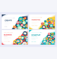Business elements brochure cards set vector