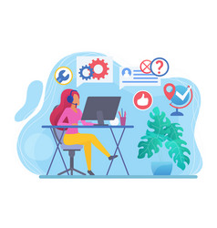 Call center flat vector
