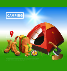 Camping realistic flyer vector