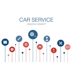 Car service infographic 10 steps template disk vector