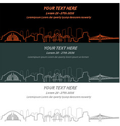 cincinnati event banner hand drawn skyline vector image