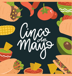 cinco de mayo lettering banner with mexican food vector image
