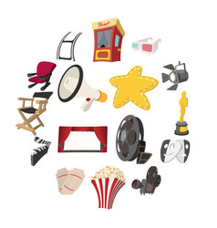 cinema cartoon icons set vector image