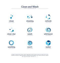 clean and wash creative symbols set font concept vector image