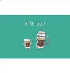 Coffee pot coffee glass vector