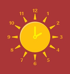 Combined clock and sun summer time concept vector
