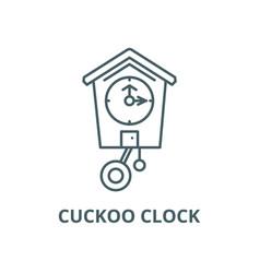 Cuckoo clock line icon linear concept vector