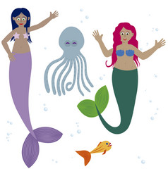 cute mermaid with sea animal friends vector image