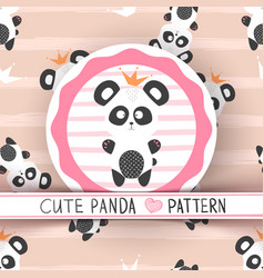 cute princess panda - seamless pattern vector image