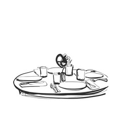 Dining table with glasses of wine and flower hand vector