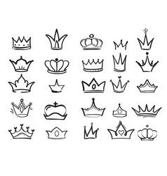 doodling crown ink hand drawn symbols king vector image