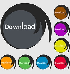Download now icon Load symbol Symbols on eight vector
