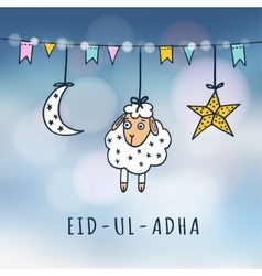 Eid-ul-adha mubarak greeting card with sheep moon vector