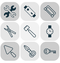 Equipment icons set with putty pliers password vector