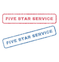Five star service textile stamps vector