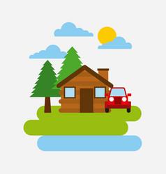 forest cottage house jeep car natural landscape vector image