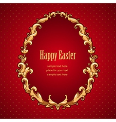 Frame barocco easter red vector image