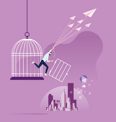 Freedom concept businessman escape from birdcage vector