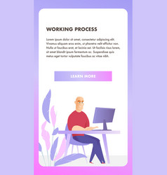 freelancer character working process mobile banner vector image