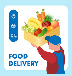 Fresh food delivery service web banner template vector
