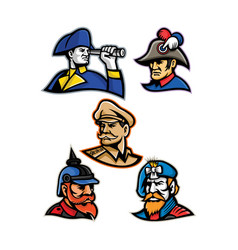 Generals admirals and emperor mascot collection vector