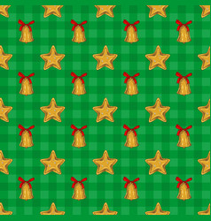 Golden christmas star and bell vector