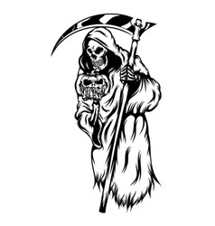 grim reaper holding scary pumpkins vector image